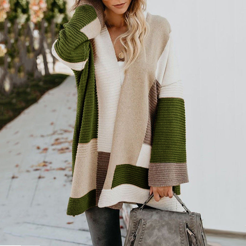 Large Size Loose Geometry Color Matching Cardigan