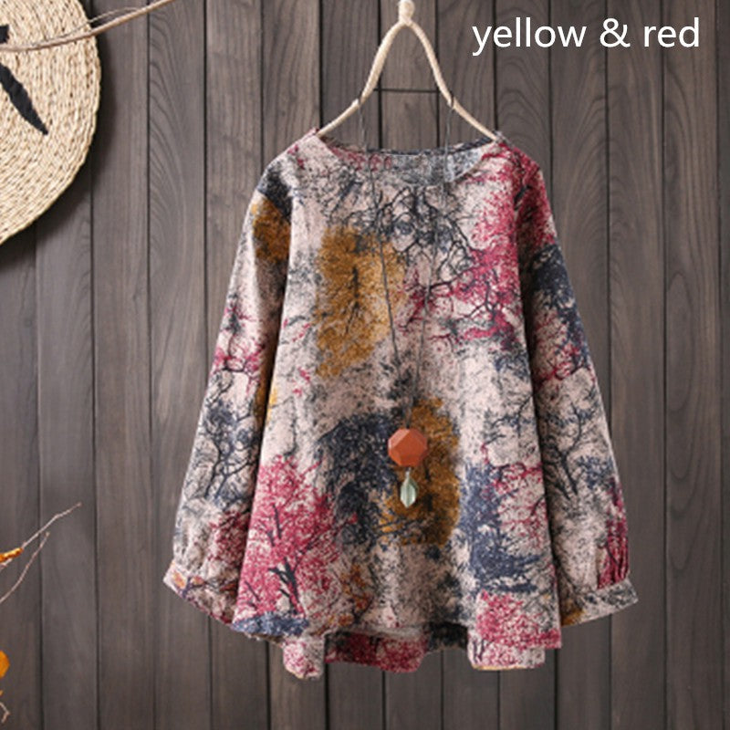 Floral Print Casual Shirt Tops Round Neck Blouse - MagCloset