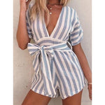 Summer Sexy Short Sleeve Striped Jumpsuit Rompers