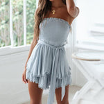 Sexy Solid Color Tube Top Tassel Jumpsuit dress