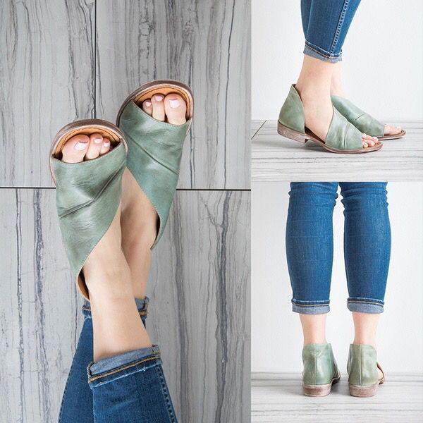 Casual PU Leather Comfort Peep Top Sandals