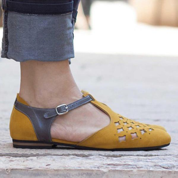 Color Block Hollow Out Casual Comfort Flats