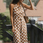 Polka Dot Sleeveless Wide Leg Jumpsuit