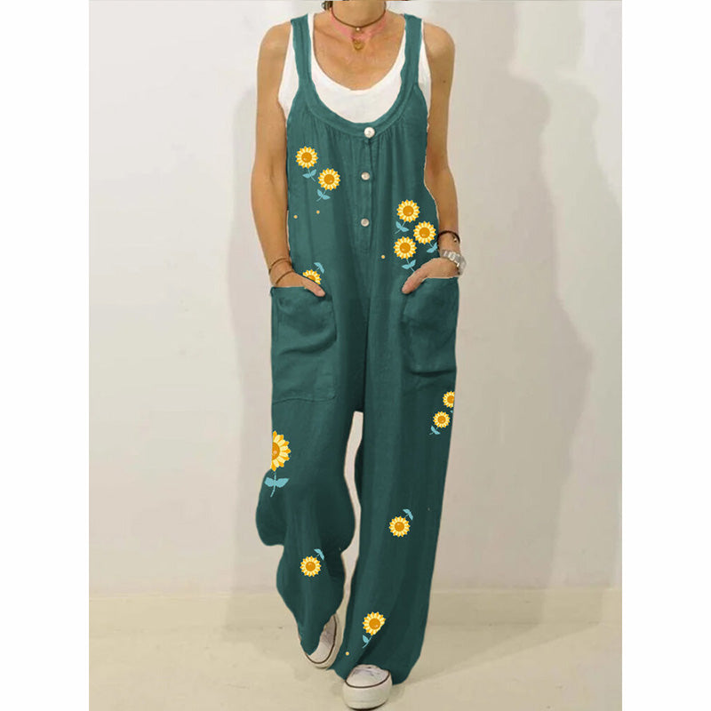 Sunflower Printed Buttons Sleeveless Jumpsuit