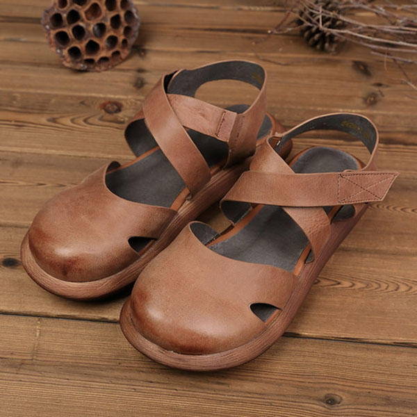 Hollow Out Pure Color Handmade Leather Retro Sandals