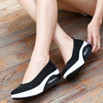 Plaid Check Mesh Breathable Platform Slip On Casual Rocker Bottom Shoes