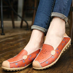 CLEARANCE-Floral Print Hollow Out Breathable Color Match Casual Slip On Flat Shoes - MagCloset