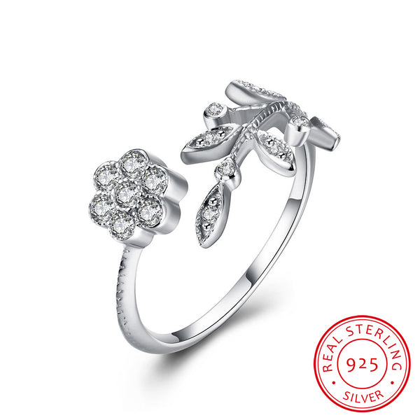 Flower Tree 925 Sterling Silver Cubic Zircon Adjustable Ring - MagCloset
