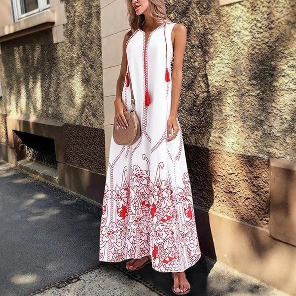 Printed Sleeveless V-Neck Tassel Maxi Dress