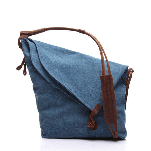 Women Men Canvas Button Shoulder Bags Unique Style Casual Crossbody Bags