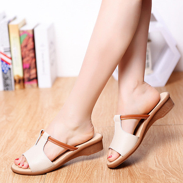 Women Leather Contrast Color Slip On Flat Sandals Slippers