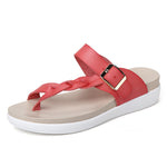 CLEARANCE-Size 5-12 Women Leather Knitting Weave Buckle Clip Toe Flat Flip Flops Sandals - MagCloset