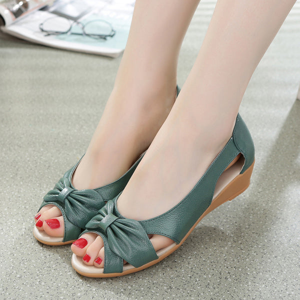 Cowhide Leather Peep Toe Bowknot Wedge Sandals - MagCloset