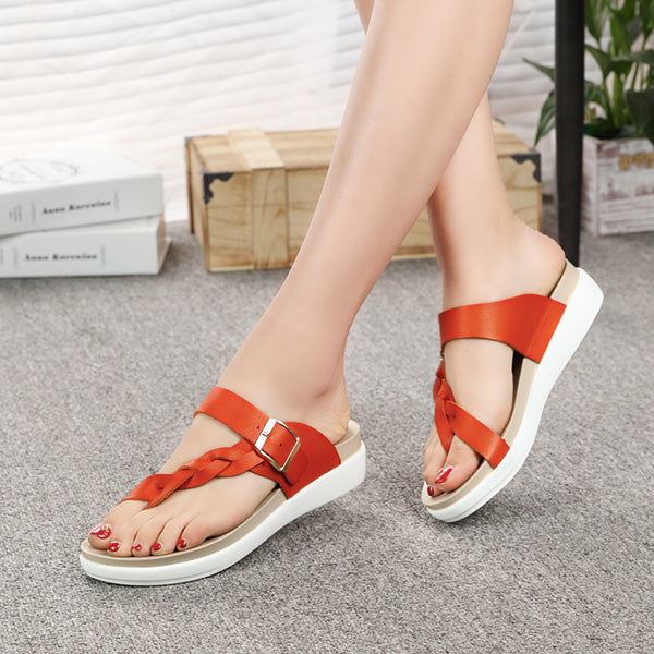 Size 5-12 Women Leather Knitting Weave Buckle Clip Toe Flat Flip Flops Sandals