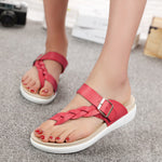 CLEARANCE-Women Leather Knitting Weave Buckle Clip Toe Flat Flip Flops Sandals