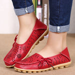 Breathable Hollow Out Flat Lace Up Soft Leather Shoes