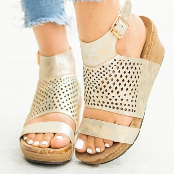 Women Buckled Wedge Casual Sandals