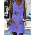 Leaves Printed Sleeveless Plus Size Pockets Dresses
