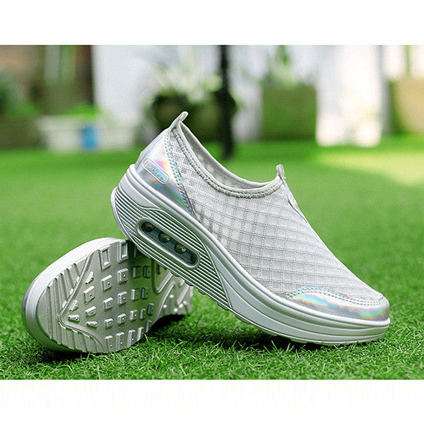 Mesh Breathable Slip On Athletic Platform Casual Shake Rocker Bottom Shoes