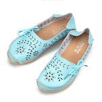 Breathable Hollow Out Flat Lace Up Soft Leather Shoes - MagCloset
