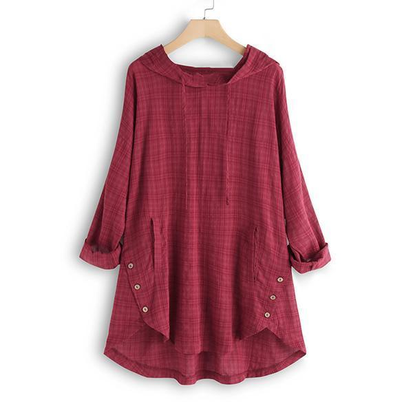 Plus Size Casual Irregular Plaid Hoodies Blouse
