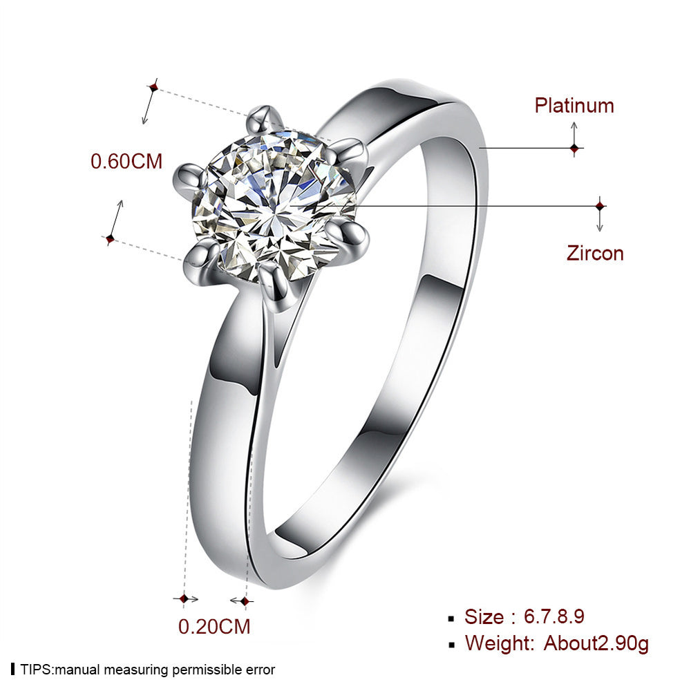 New Arrival Gorgeous Platinum Rings with Zircon