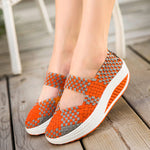 Knitting Slip On Athletic Platform Casual Shake Rocker Bottom Shoes