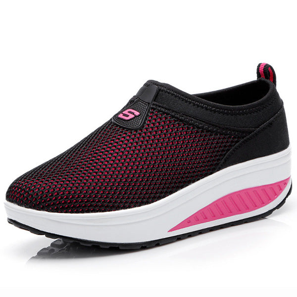 Breathable Mesh Casual Sport Platform Rocker Bottom Shoes