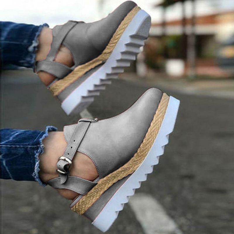 Fashion Buckled Wedge Sandals for Women
