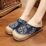 CLEARANCE-Casual Cotton Flax Comfortable Round Toe Flat Lazy Summer Linen Loafers Slipper Shoes