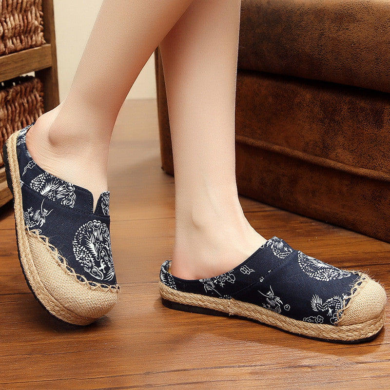 CLEARANCE-Casual Cotton Flax Comfortable Round Toe Flat Lazy Summer Linen Loafers Slipper Shoes - MagCloset