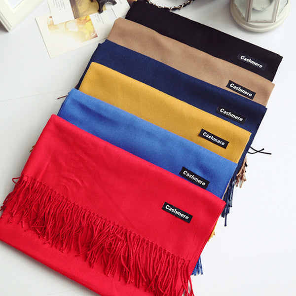 Winter Fashion Solid Color Cashmere Tassels Scarf