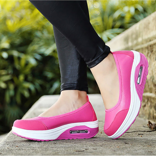 PU Leather Platform Slip On Casual Rocker Bottom Shoes