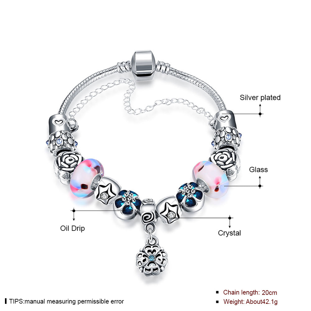 Color Crystal Beads Combined with Glass Beads Silver Plated Chain Bracelet - MagCloset