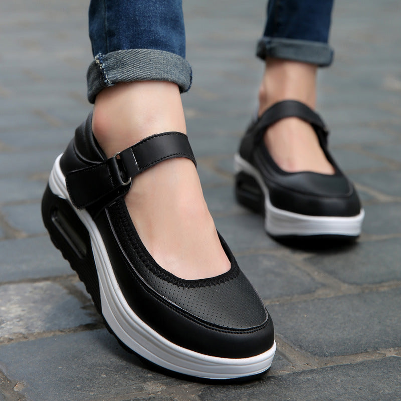 PU Leather Platform Hook Loop Casual Rocker Bottom Shoes