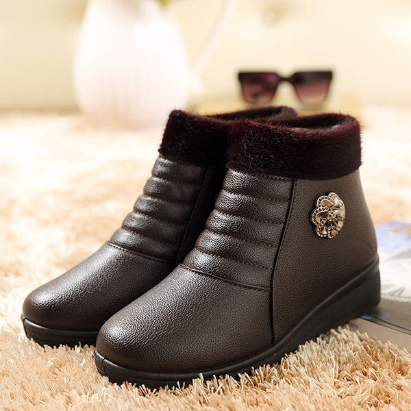 Winter Non-Slip Warm Fur Lining Leather Short Boots