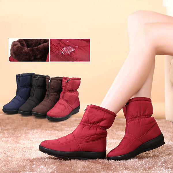Winter Non-Slip Waterproof Warm Fur Zipper Snow Boots