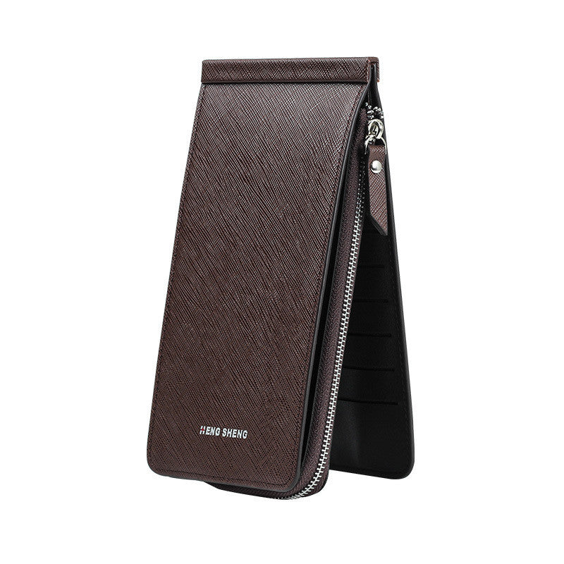 CLEARANCE-Women Men 26 Multi-slots Card Holder Ultrathin PU Leather Zipper Business Card Case 5.5'' Phone Bags