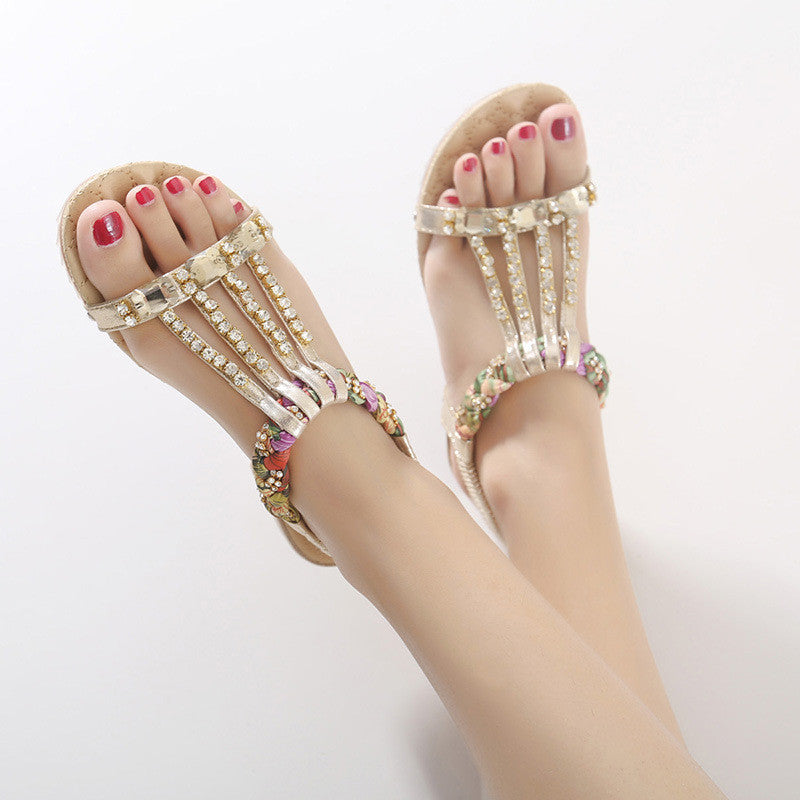 Bohemia Bead Chain Crystal Casual Flats Sandals