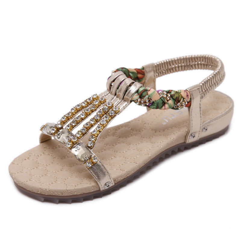 Bohemia Bead Chain Crystal Casual Flats Sandals - MagCloset