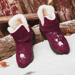Big Size Strappy Warm Suede Ankle Slip On Fur Lining Flat Snow Boots - MagCloset