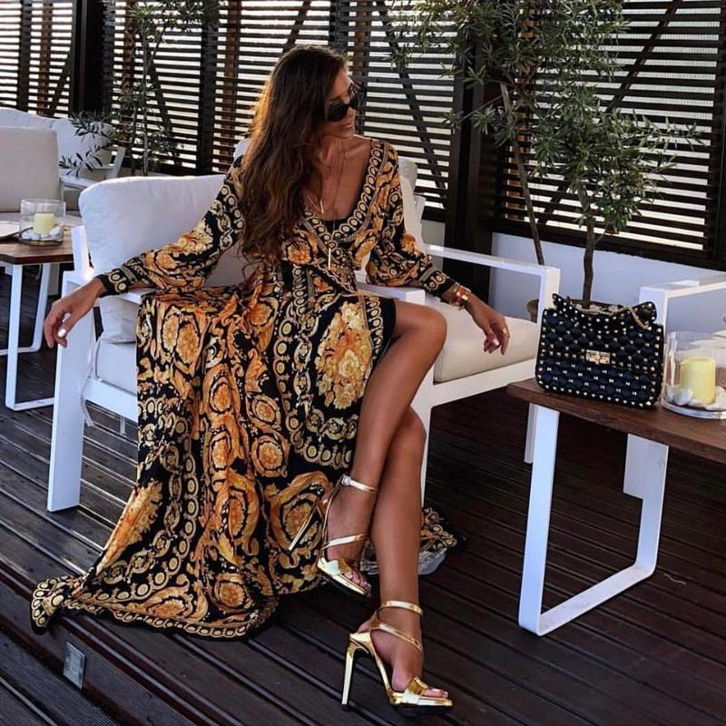 Long Sleeve V-Neck Printed Maxi Dresses