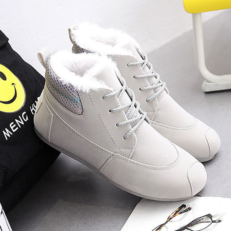 CLEARANCE-Rainbow Ankle Lace Up Cotton Fur Lining Warm Boots - MagCloset