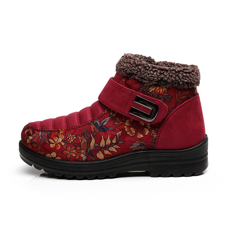 CLEARANCE-Flower Hook Loop Metal Ankle Warm Retro Platform Boots - MagCloset