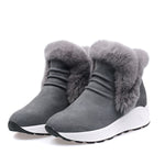Cowhide Leather Comfy Platform Snow Boots Winter Warm Shoes - MagCloset
