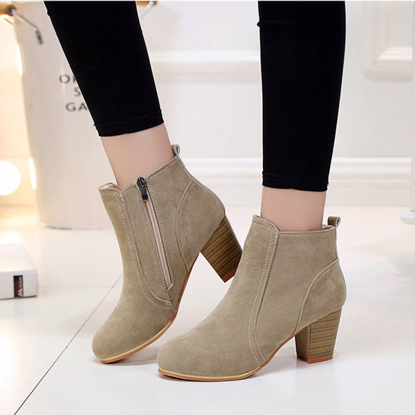 Vintage Simple Fashion Chunky Heel Ankle Boots