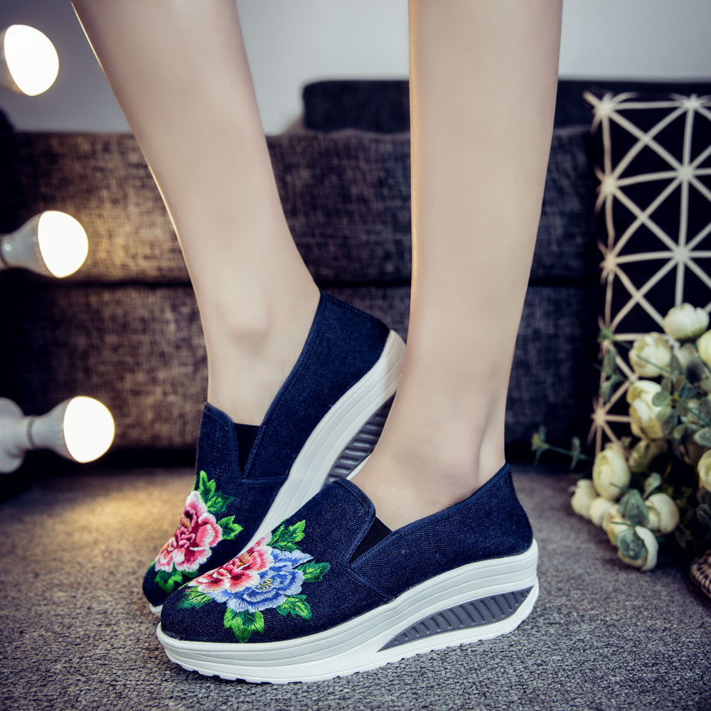 CLEARANCE-Chinese Embroidered Flower Casual Rocker Bottom Sport Slip On Shoes