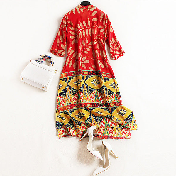 Red Half Sleeve V Neck Leaf Print Dress