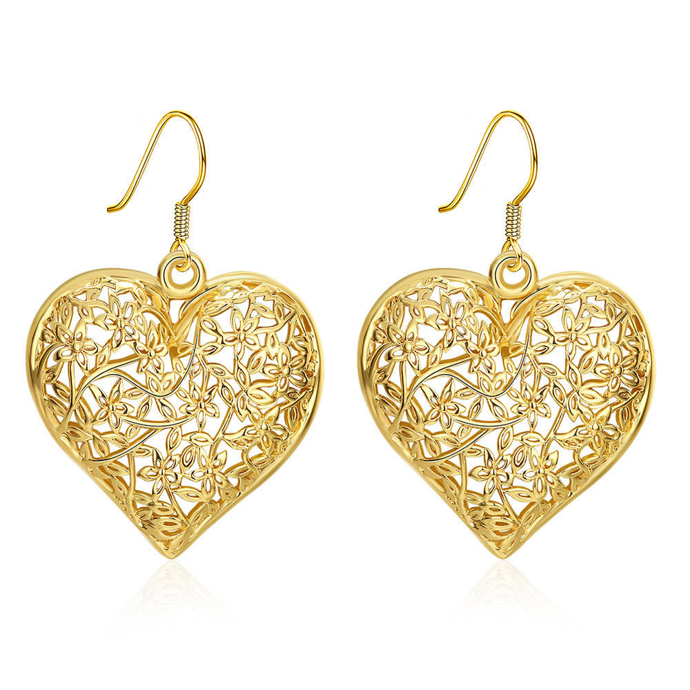 Lastest Fashion 24K Gold Plated Hollow Out Heart-Shaped Earrings