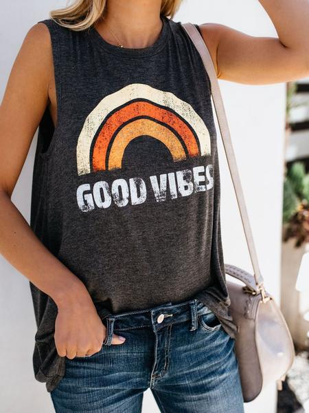 Good Vibes Printed O-Neck Vest